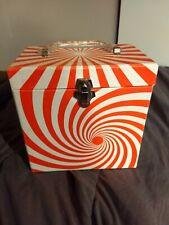 Vintage Record Carry Case - Platter Pak - 45 RPM Psychedelic Orange Swirl NICE!!
