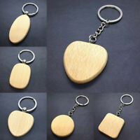 Blank Round Rectangle Heart Wooden Key Chain DIY Wood Keyrings Gifts Accessories
