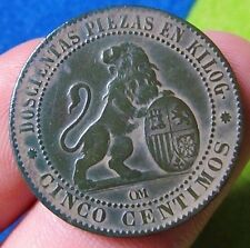 awesome 1870 PIRATE COB SPANISH 5 Centimos Cents Colonial Coin Spanish Republic