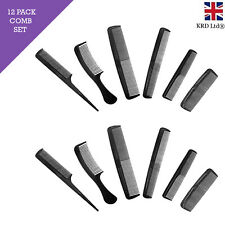 12pk Black Comb Hair Styling Set Professional Barbers Salon Men Women P072447 UK