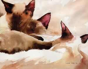 Giclee PRINT Siamese Cat Watercolor Painting Art Sound seal point chocolate pet
