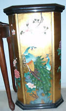 New Gold Peacock Lacquer Asian Drawer Storage Cabinet