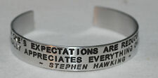Quote By: ~ Stephen Hawking ~ / Engraved, Hand Polished Bracelet,Gift Bag