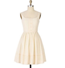 ANNA SUI Anthropologie Womens Ivory Crochet Lace Dress Size 0