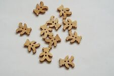 10pc 18mm Untreated Wooden Teddy Bear Shaped Craft Button 0952