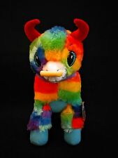 "Fiesta the Pinata Rainbow Confetti Bull Toro Plush with Nose Ring 11.5"" NWT"