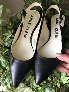 Anne Klein Akexpert Womens Pump Kitten Heels Shoes Black Leather Slingback 7 M