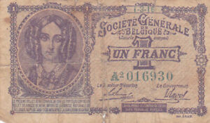1 FRANC VG BANKNOTE FROM  GERMAN OCCUPIED BELGIUM 1916 PICK-86