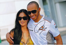 Lewis Hamilton Signed 8X12 inches F1 Mercedes Photo with Nicole Scherzinger