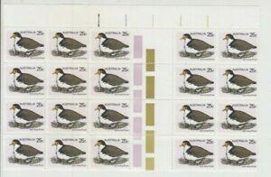 Stamps 1979 Australia 25c Plover bird top marginal gutter block of 20, MUH