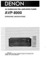 Denon AVP-8000 Pre-Amplifier Owners Manual