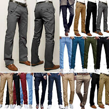 US Mens Slim Fit Stretch Chino Trousers Bottom Formal Work Slacks Pants Business