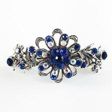 USA BARRETTE Rhinestone Crystal Hairpin Claw Clip Metal Vintage Flower Blue 10