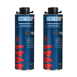2 x DINITROL 4941 UNDERBODY CHASSIS RUST PROOFING BLACK WAX 1 LITRE - NEWLABEL