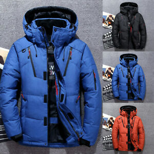 Men Winter Warm Duck Down Jacket Ski Snow Thick Hooded Puffer Coat Parka Quilted