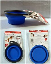 Dexas Popware Collapsible Clip-On Leash Cup for Dogs 8 oz Blue