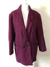 Vintage 1980s Houndstooth Pink & Black Double Breasted Coat Size 12 Wool Blend
