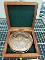 Vintage Nautical 1930 Australian Penny Brass Compass W/ Wood Case Collectible