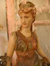 New listing Beautiful French Antique Spelter Metal Lady Statue Ornate Details Original Paint