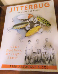 Fred Arbogast Jitterbug Lure Metal Sign 2009 Cravotta 12 x 16 Color Reproduction