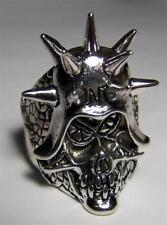 QUALITY MEAN SKULL SPIKED HEAD RING #22 jewelry unisex MENS womens BIKER new