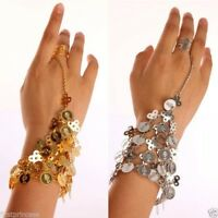 Pulsera dorada pleateada danza vientre Golden silver tone Belly Dance Bracelet