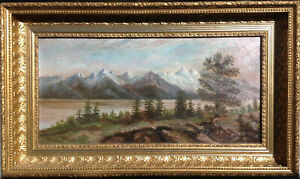 19th C. Antique Landscape signed G. Cole Oil Painting Hudson River and Mountains