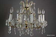 More details for large vintage 10 branch crystal glass chandelier ceiling light