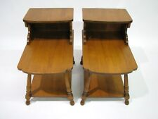 *PAIR* Vintage 1950s-60s Tell City Andover Solid Maple Step-Back End Tables