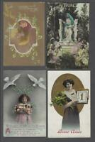 Lot of 6 Original French Christmas Greetings Postcards