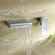 Wall Mount Bathroom Widespread Waterfall Outlet Mixer Faucet Single Handle Taps
