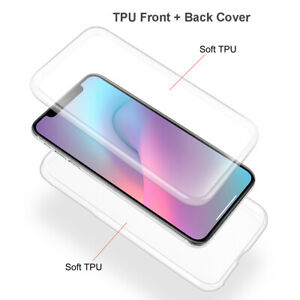 Front+Back Full Shockproof Clear Soft TPU Case Cover For iPhone XS Max XR 11 Pro