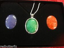 Sterling Silver 925 Necklace w/ dragon reversible & interchangeable gem pendant