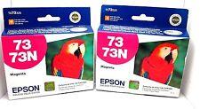 LOT OF 2 EPSON 73N MAGENTA INK CARTRIDGE GENUINE/SEALED BAG /BOX73N GREAT DEAL