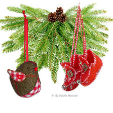 2 X Felt Christmas Decoration Ornament Sewing PATTERNS Robin & Elf Boots, Easy