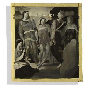 Student Monochrome Reproduction Gouache Painting Michaelangelo The Entombment