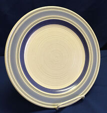 Pfaltzgraff Rio Hand Painted Dinner Plates Cream Blue Bands, Lot of 17