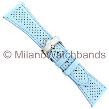 26mm Glam Rock Blue With Holes Genuine Calf Leather Watch Band EZ PINS