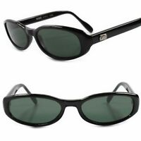 Classic True Vintage 80s Fashioned Green Lens Black Frame Rectangle Sunglasses