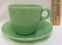 Cup & Saucer Jadeite Fire King Green Glass St Dennis Pair USA Vintage Restaurant
