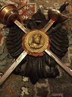 Vintage Rare Mounted Fencing swords made in Spain Solid Wood Mount Metal Swords