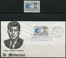 COLOMBIA  1963 JOHN F. KENNEDY MEMORIAL STAMP  ON FIRST DAY COVER+HINGED STAMP
