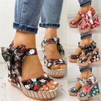 Womens Ankle Buckle High Heel Wedge Sandals Ladies Peep Toe Platform Shoes Sizes
