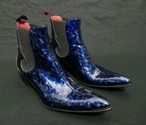 JEFFERY-WEST 'MUSE' Blue Patent leopard SYLVIAN Rock'n'Roll Chelsea Boot UK 8