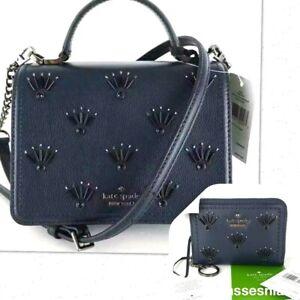KATE SPADE Maisie Patterson Drive Crossbody Bag & Dani Wallet Blue Leather