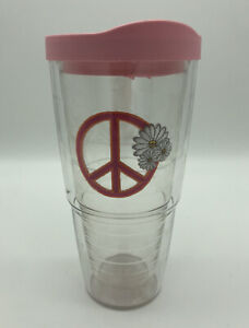 Pink Tervis Tumbler w Travel Lid 24 Oz Daisy flowers pink peace sign