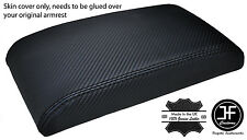BLACK STITCH FITS VW GOLF MK5 MK6 ANTHRACITE CARBON FIBER VINYL ARMREST COVER