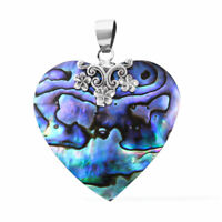 925 Sterling Silver Abalone Shell Valentine Heart Pendant Jewelry Gift for Women