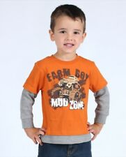"Farm Boy Brand Orange "" Mud Zone "" Monster Truck Layered T-Shirt Toddler 3T NWT"