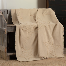 "Burlap Vintage Star Woven Throw Blanket 60x50"" Antique Creme Farmhouse / Country"